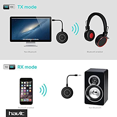 HAVIT HV-BT018 Bluetooth 4.1 Transmitter Receiver(aptX), Pair 2 At Once, Mini Wireless Portable Bluetooth Adapter to 3.5mm Audio Devices and Home Stereo, Such as TV, MP3, CD player, PC, eBook reader