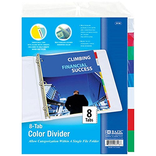 BAZIC 3-Ring Binder Dividers w/ 8-Insertable Color Tabs, Cas