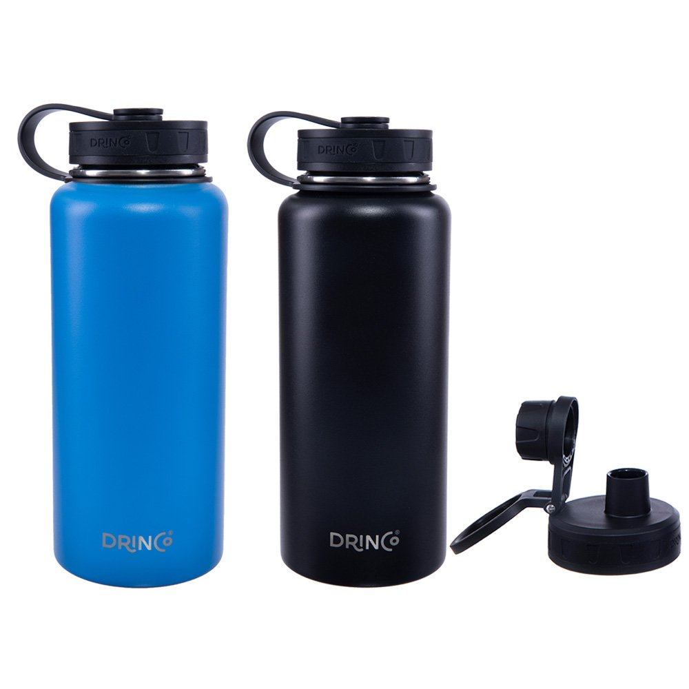 Drinco Vacuum Insulated Stainless Steel Water Bottle, with Spout Lid, Wide Mouth, Leak Proof, Powder Coated, Double Wall, 18/8 Grade, Stainless Steel Water Bottle, 30oz. 2 pack (Black/Blue)