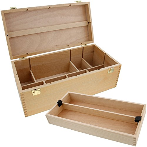 US Art Supply Artist Wood Pastel, Pen, Marker Storage Box with Drawer(s) (Large Tool Box) (Box Wooden Brush)