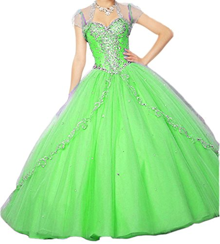 Damen Lime Quinceanera Kleider Sweet 16 Appliques Ball Fanciest Hot Green Pink Dresses dOvSZqwd