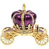 QIFU-Hand Painted Enameled Pumpkin Carriage Hinged Jewelry Trinket Box Unique Gift for Home Decor