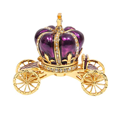 QIFU-Hand Painted Enameled Pumpkin Carriage Hinged Jewelry Trinket Box Unique Gift for Home Decor -