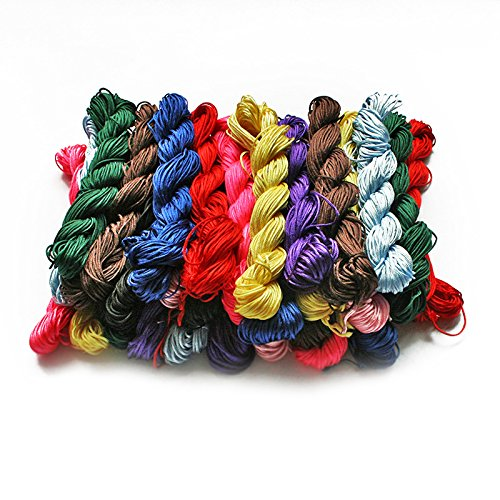 24M 1mm 10colors Random Mixed Rope Nylon Bead Jewelry Cord Thread Chinese Knot Macrame Rattail for DIY Fashion Bracelet Braided