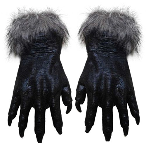 [Scary Werewolf Wolf Paw Gloves Halloween Cosplay Costume Natural Latex Creepy Hairy Gloves Fancy Party Dress Props] (Black Werewolf Gloves)