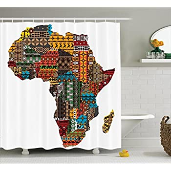 Ambesonne African Decorations Collection Africa Map With Countries Made Of Architectural Feature Popular Ancient Continent