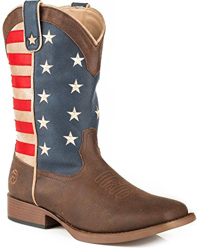 ROPER Women's American Patriot Stars and Stripes Cowgirl Boot Square Toe Brown 10 M ()