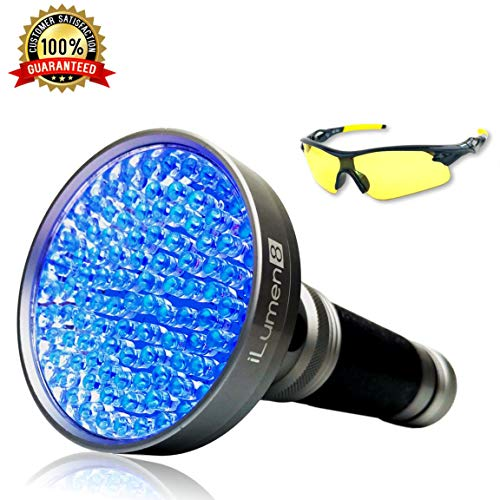 UV Flashlight Black Light - EXTRA BRIGHT 100 LED - Best Pet Urine Detector Light Flashlight for Cat Dog Urine, Pet Odors, Blacklight Flashlight for Bed Bug, Scorpions, Mold + UV Safety Glasses