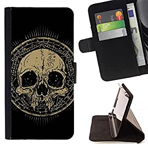 For Samsung Galaxy Core Prime Design Grunge Ancient Skull Beautiful Print Wallet Leather Case Cover With Credit Card Slots And Stand Function