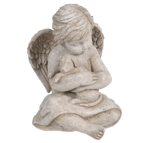 Beloved Cherub Angel Holding a Dog Puppy Pet Memorial Bereavement Garden Statue Figurine (Puppy Dog Garden Sculpture)