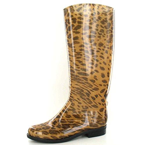 Flekk På Kvinners / Damer Leopard Print Riding Boot Wellington Støvler Tan Leopard
