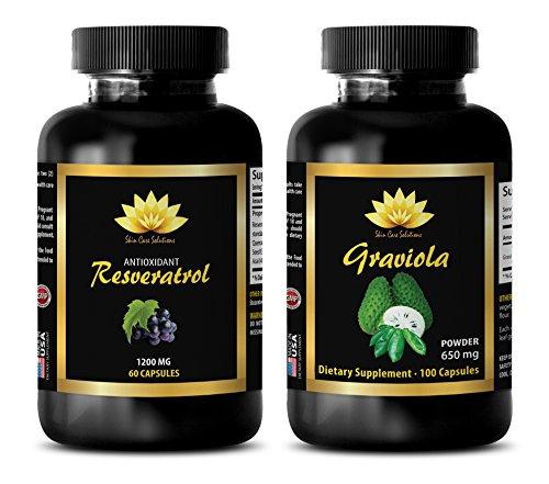 antioxidant q10 - RESVERATROL – GRAVIOLA COMBO - resveratrol and coq10 - 2 Bottles - (60+60 Capsules) (Coq10 Tropical Fruit)