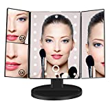 Makeup Vanity Mirror, BEW Lighted Trifold Mirror with 3x/2x Magnification & 22 Led Lights for Countertop Cosmetic Makeup, Valentine's Day Gift (Black)