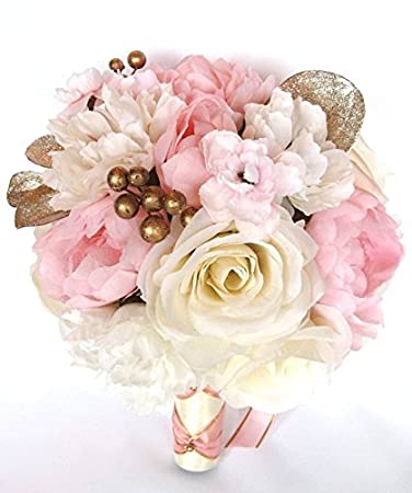 Amazon wedding bouquets bridal silk flowers light pink rose wedding bouquets bridal silk flowers light pink rose gold blush 17 piece package wedding bouquet centerpiece mightylinksfo