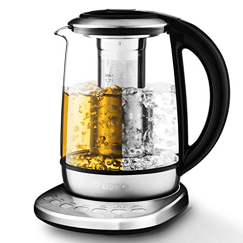 Aicook 2020 New Model Electric Kettle 1.7L Glass Tea Kettle with 5 Variable Presets, One Touch Tea Maker, 100% Stainless Steel Inner Lid, Tea Infuser & Bottom, Auto Shut off & Boil Dry Protection, BPA free