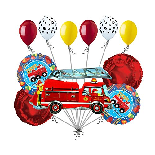 11 pc Fire Engine Fun Balloon Bouquet Decoration Happy Birthday Party Fighter