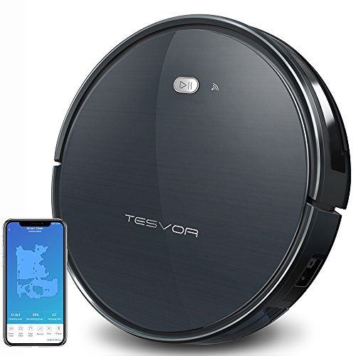 Tesvor Robot Vacuum Cleaner, Wifi Robotic Vacuum with Real Time Map and Plan Cleaning, 1500Pa Max Suction, Works with Alexa, Powerful Clean for Pets, Cleans Hard Floors and Low-pile Carpets