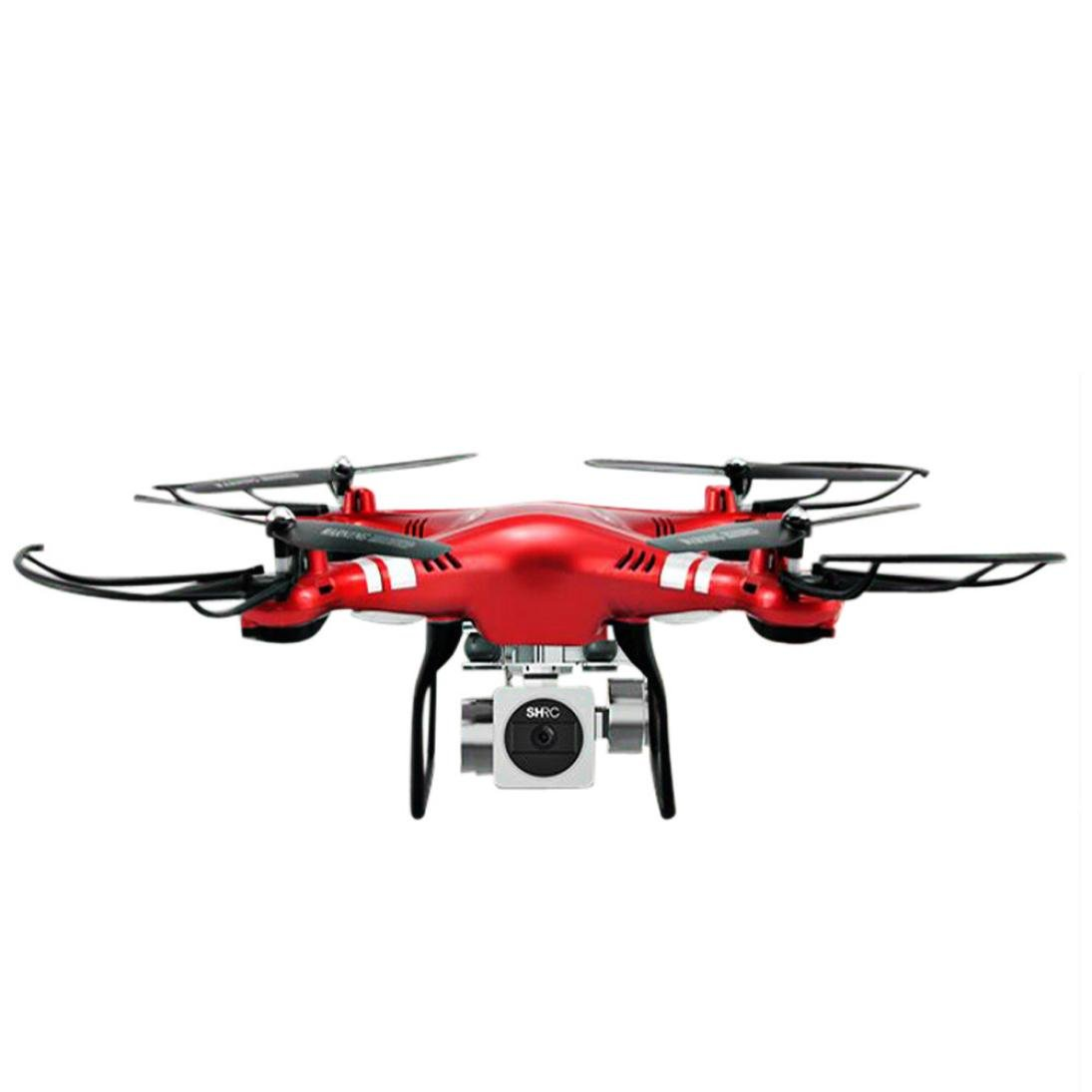 Ruhiku GW RC Drone FPV Wifi RC Quadcopter 2.4GHz 6-Axis Gyro Remote Control Drone with 1080P Wide Angle Lens 270 Degree Rotating HD Camera Drone Gift (Red)