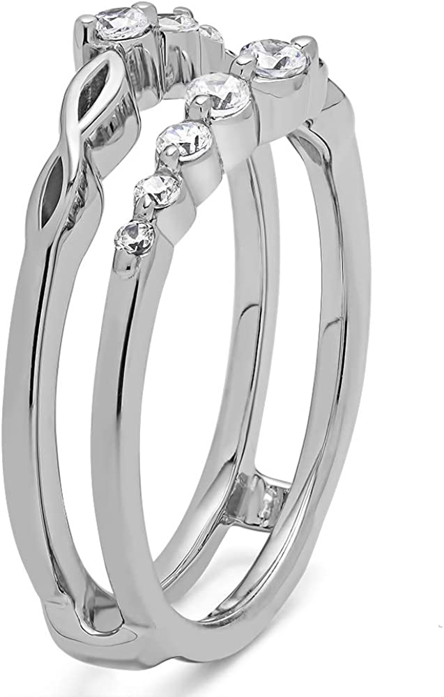 G,I2 TwoBirch Sterling Silver Graduated Infinity Ring Guard With White Diamonds 0.25 ct.
