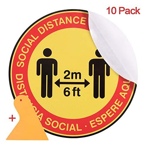 Social Distancing Floor Decals,Waterproof Anti-Slip Removable 6 Feet Apart Stickers,12
