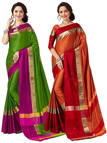 ELINA FASHION Pack of Two Sarees for Indian Women Cotton Art Silk Printed Weaving Border Saree || Sari Combo (Multi 18)
