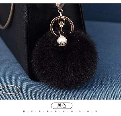Amazon.com: Rarido 8CM Fluffy Fake Fur Pompom Keychain Pearl ...
