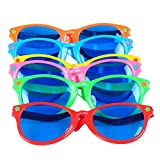 "Seekingtag Colorful Jumbo Blue Lens Sunglasses for Costumes Cosplay Halloween Party Fun Party Favor Photo Booth Props - Party Pack of 6, 10"" X 4"""