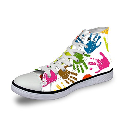 U Cute DESIGNS Print Lip Sneaker Up Fashion For High Top Prints Lace Footprints Girls FOR White Women dEqBxnd