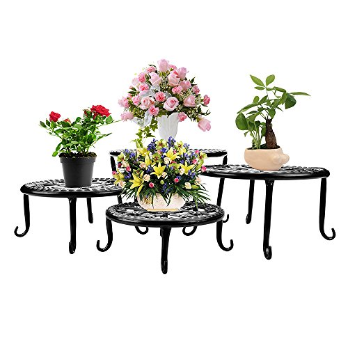 Metal Plants Stand Flowerpot Holder Iron Art Pot Holder, AISHN Flower Pot Supporting Indoor Outdoor Garden Pack of 4pcs with Different Size ()
