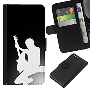 Protector de cuero de la PU de la cubierta del estilo de la carpeta del tirón BY RAYDREAMMM - Apple Iphone 5C - Silueta de la guitarra