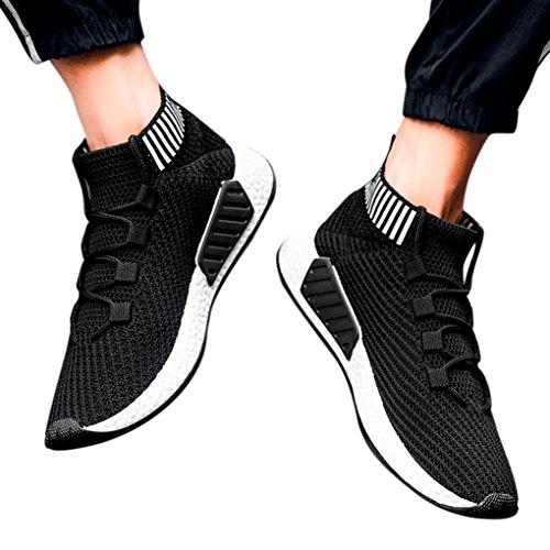 Hatop Sportschoenen Voor Heren, Hoge Hulp Kruisgebonden Zachte Zool Loopschoenen Gymschoenen Sokken Schoenen Zwart