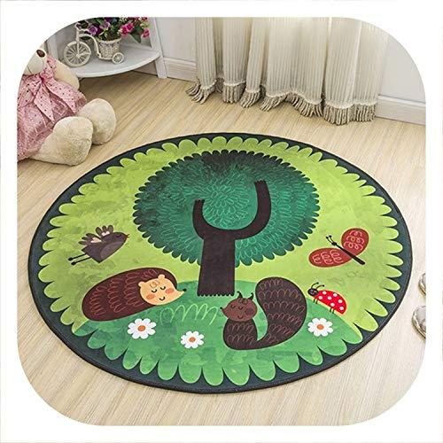 Round Decorative Carpet Floor Door Yoga Pad Baby Child Kid's Play Crawling Mat Hallway Area Rug,Hedgehog Green,Diameter 60cm
