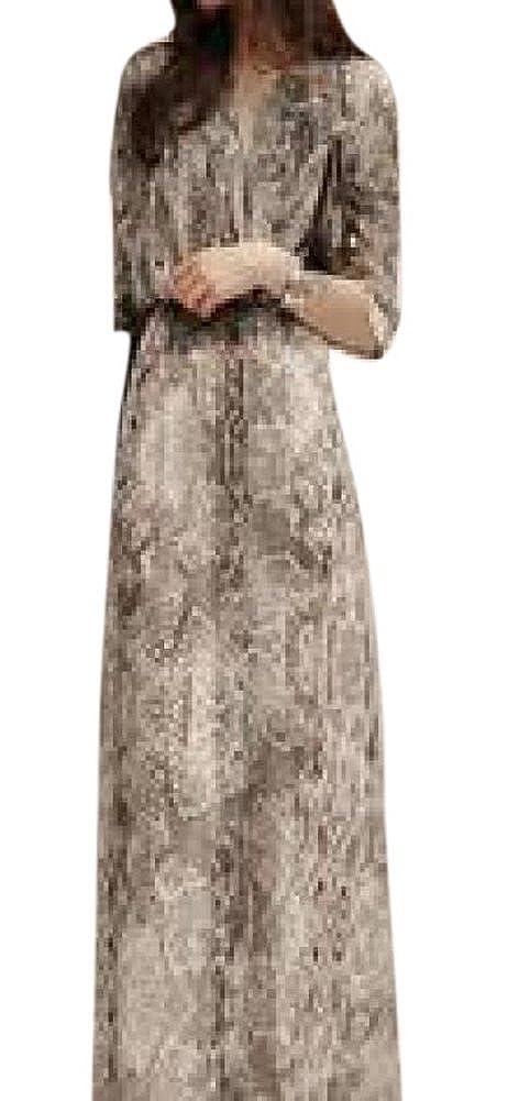 Lingswallow Grey Women Elegant Long Sleeve Print Chiffon Maxi Party Dress L