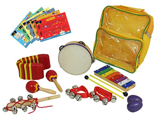 D'Luca LT7 Percussion with Glockenspiel, Tambourine, Maracas, Egg Shakers, Wrist Bells & Jingle Stick, 7 Pack by D'Luca