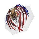 U.S. American Flag Bald Eagle Folding Windproof outdoor Travel Umbrella for Women