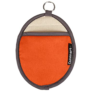 Cuisinart Oval Pot Holder/Oven Mitt w/ Pocket & Heat Resistant Non-Slip Silicone Grip, Rust