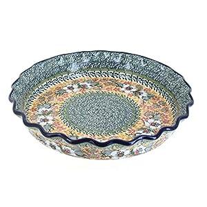 Blue Rose Polish Pottery Jasmine Pie Plate