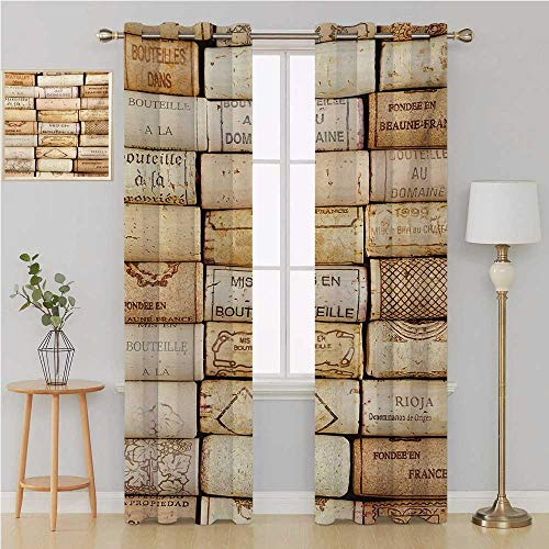 (Benmo House Winery Gromit Curtains Drapes for Living RoomDifferent Wine Corks Arranged in a Line Collections French Aged Fine Wine Artcurtain Holdback 120 by 96 InchIvory Pale Brown )