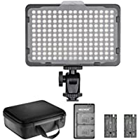 Neewer Dimmable 176 LED Video Light Lighting Kit: 176 LED Panel 3200-5600K, 2 Pieces Rechargeable Li-ion Battery, USB Charger and Portable Durable Case for Canon, Nikon, Pentax, Sony DSLR Cameras