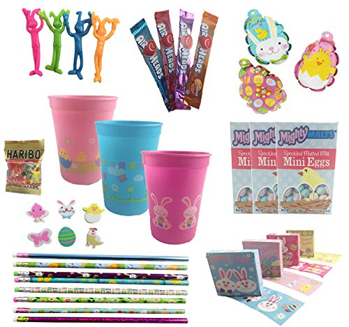 Easter Spring Party Pre-Filled Favor Gift Cups For Kids Bundle - (Set of 3)