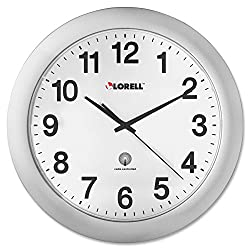Lorell  LLR60996 Radio Controlled Arabic Numeral Analog Wall Clock, Daylight Saving Radio-controlled, 12-Inches,Silver