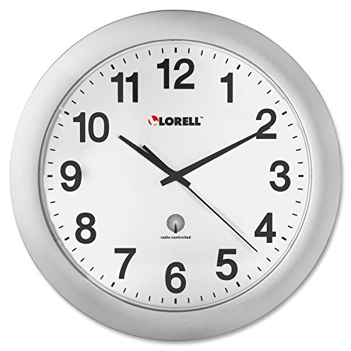 12 Clock Wall Mexico State - Lorell  LLR60996 Radio Controlled Arabic Numeral Analog Wall Clock, Daylight Saving Radio-controlled, 12-Inches,Silver