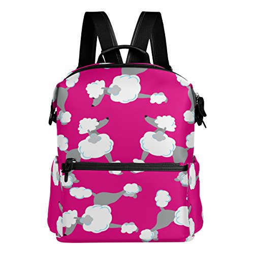 ALAZA Pink Poodle Casual Backpack Lightweight Travel Daypack Student School Bag (Poodle Backpack)