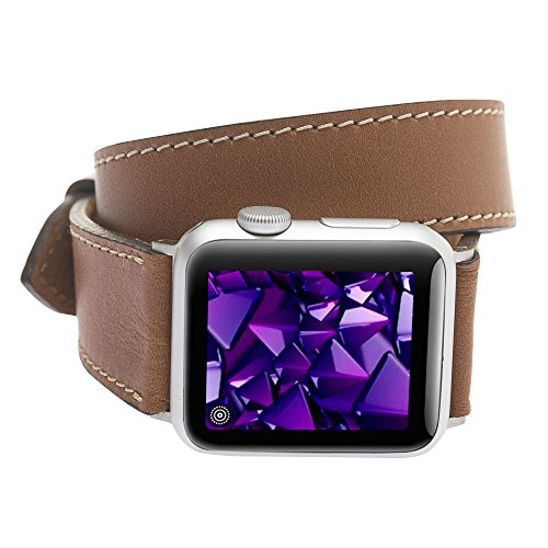 - Booyse Genuine Leather Double Tour Brown Watch Band for Apple Watch 42mm 44mm