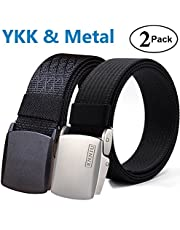 Fairwin Nylon Belt,Tactical Nylon Military Web Riggers Belt Metal Buckle Casual Outdoor (2 Pack)