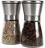 YAMO® Pepper Grinder Set - Stainless Steel Salt and Pepper Grinder Set with Glass Bottle and Adjustable Coarseness - Ceramic Grinders, Salt Mill & Pepper Mill, Salt Pepper Grinder Set