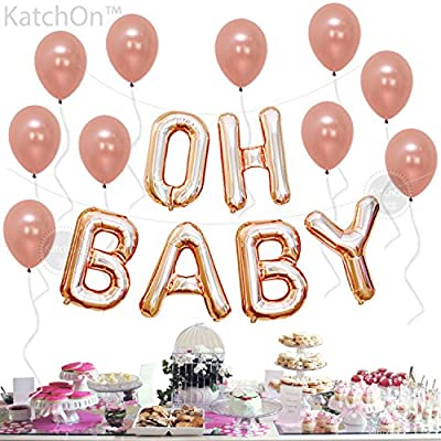 Baby Shower Letter Balloons.Oh Baby Balloons Rose Gold Letter Balloons Great For Gender Reveal Party Baby Shower Decorations Backdrop 16 Inch Mylar Foil Letter Balloons