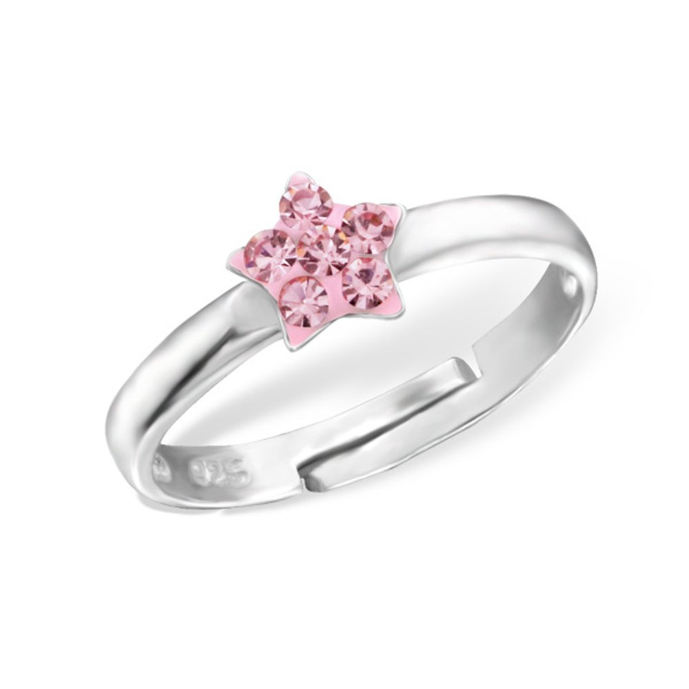 Tiny Star Silver Ring with Crystal Stones Size Adjustable 2-4 Sterling Silver 925 (Pink)