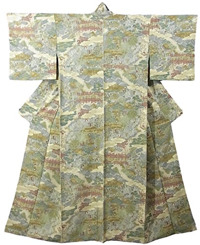 差ハリケーンアスリートリサイクル 着物 小紋 日本の古き良き街並みの風景 正絹 袷 裄63.5cm 身丈158cm
