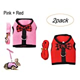Tineer Rabbit Harness with Lead Leash Set - Soft Breathable Mesh Pet Chest Harness Vest Walking for Kittens,Bunny,Hamster,Guinea Pig,Ferret and Other Small Animals (S, Pink + Red)